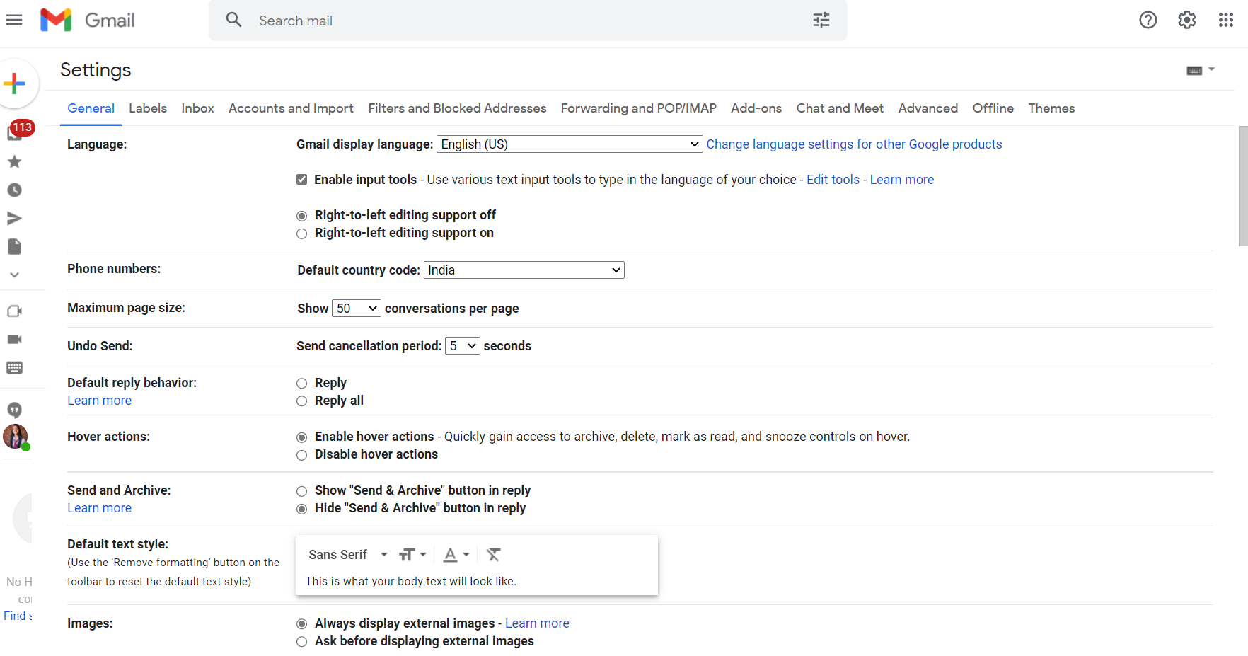 gmail format